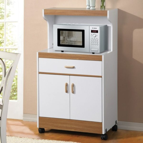 Aaronsburg White Kitchen Organization Microwave Cabinet