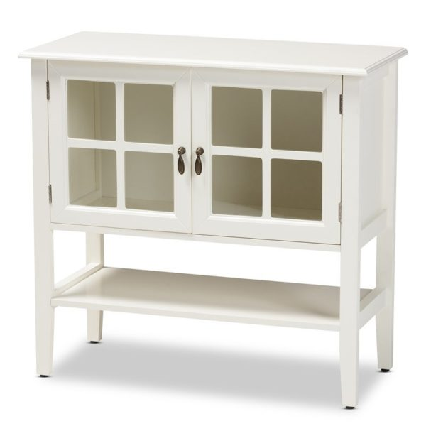 Baxton Studio Chauncey White Finished Wood and Glass 2-Door Kitchen Cabinet