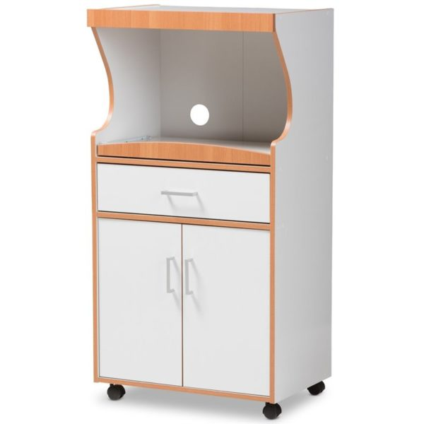 Baxton Studio Edonia Kitchen Cabinet in Beech Brown and White