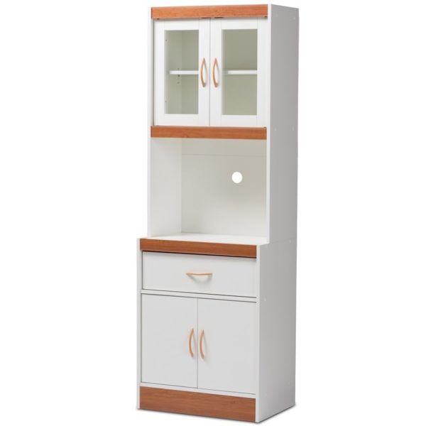 Baxton Studio Laurana Kitchen Cabinet and Hutch in White and Cherry