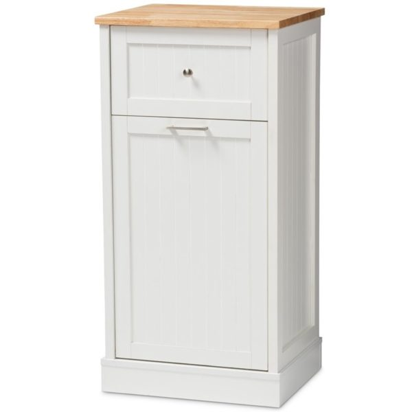 Baxton Studio Marcel Kitchen Cabinet in White and Oak Brown