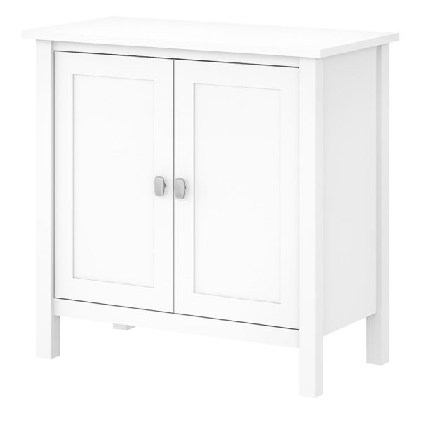 Bush Furniture Broadview Accent Storage Cabinet With Doors, Pure White, Standard Delivery
