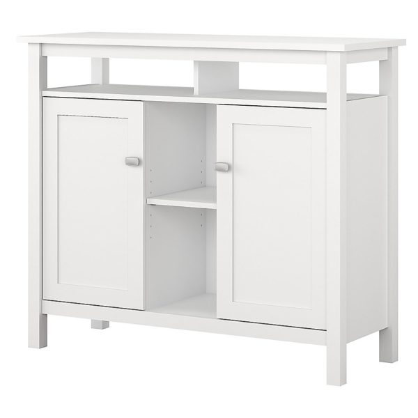 Bush Furniture Broadview Console Table With Storage, Pure White, Standard Delivery