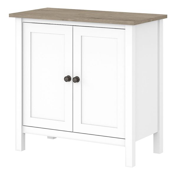 Bush Furniture Mayfield Accent Storage Cabinet With Doors, Pure White/Shiplap Gray, Standard Delivery