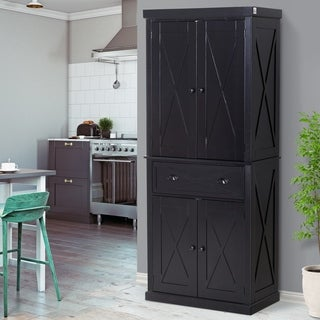 HOMCOM 6ft Wood Farmhouse Colonial Kitchen Pantry Cabinet, with Adjustable Shelves, 2 Wood Pantries, & a Drawer (Black)