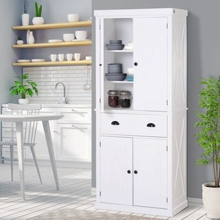 HOMCOM 6ft Wood Farmhouse Colonial Kitchen Pantry Cabinet, with Adjustable Shelves, 2 Wood Pantries, & a Drawer (White)