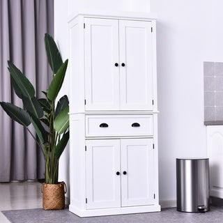 """HOMCOM 72"""" H Traditional Colonial Freestanding Kitchen/Bathroom Storage Pantry with 1 Center Drawer and 2 Cabinets (White)"""