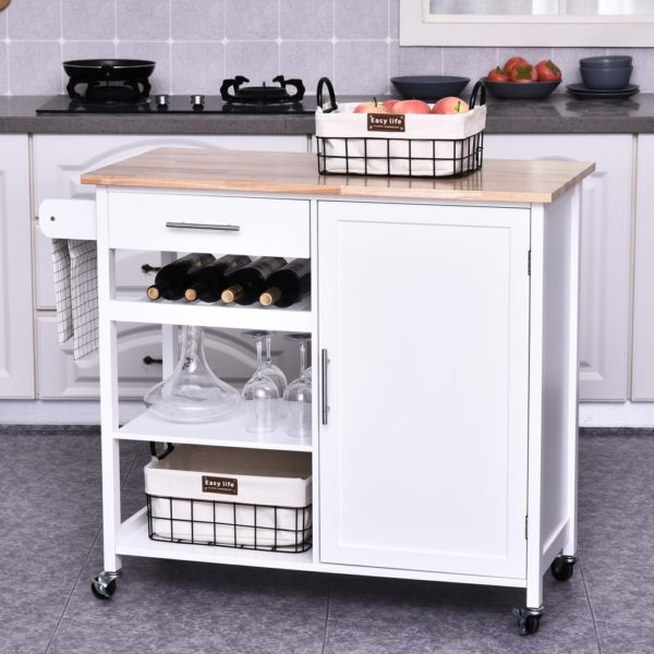 HOMCOM Rolling Kitchen Island Cart with Large Countertop, Display Wine Rack, Large Storage Cabinet, and Towel Bar (White - Portable - Wood)
