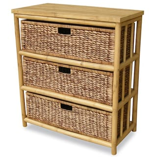 Heather Ann Open Sides Bamboo Cabinet with 3 Drawers (Natural)