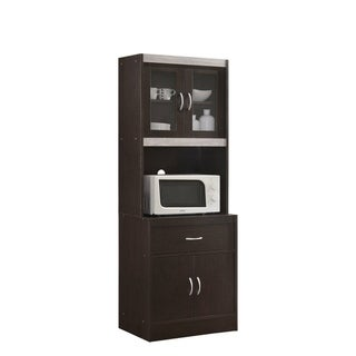 Hodedah Kitchen Cabinet with Top and Bottom Enclosed Cabinet Space (Brown)