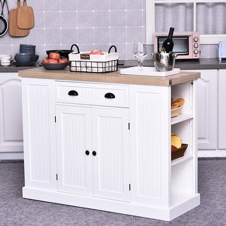 HomCom Fluted-Style Wooden Kitchen Island Storage Cabinet with Drawer, Open Shelving, and Interior Shelving (White)