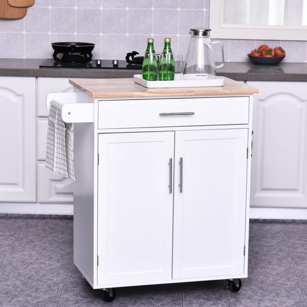 HomCom Kitchen Cabinet Island with Large Countertop, Storage Space, and Omni-Directional Castor Wheels (Portable - Wood)