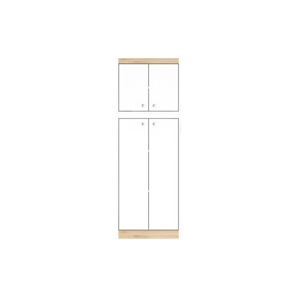 "Inval 67""H Kitchen Storage Cabinet With 4 Doors, White/Vienes Oak"