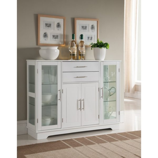 K and B Furniture Co. Inc. White Wood Kitchen Storage Cabinet (table)