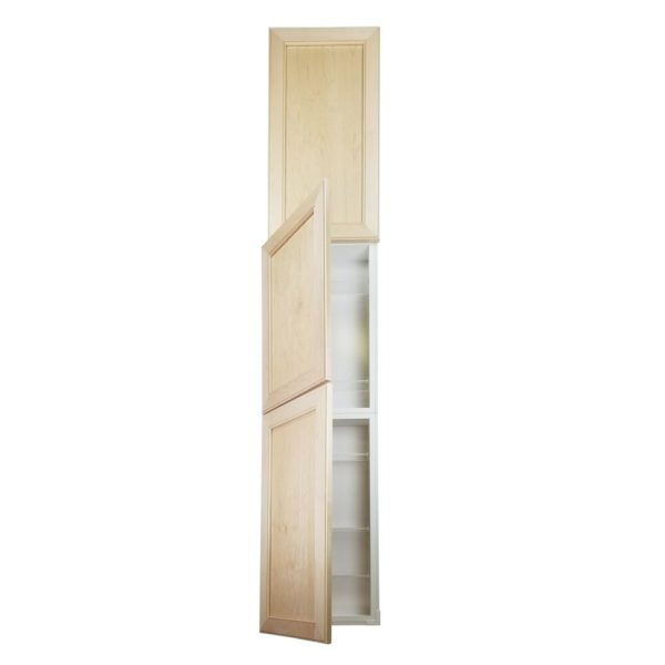 Lakewood Recessed in the wall 3-door Pantry style Frameless Bathroom Cabinet (71h x 15.5w x 3.5d)