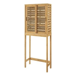 """Linon Home Decor Products Bullock Sliding-Door Bamboo 26""""W Space-Saver Cabinet, Natural"""