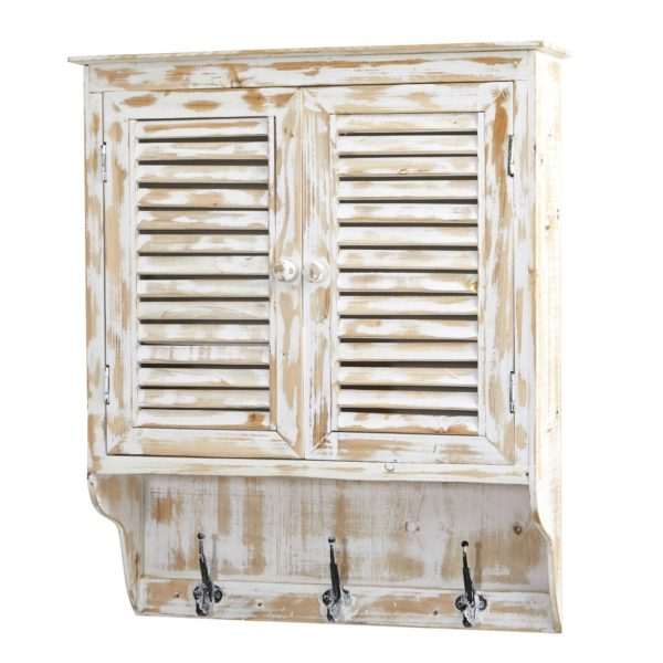 """Nearly Natural White Washed Wall Cabinet with Hooks 32"""""""