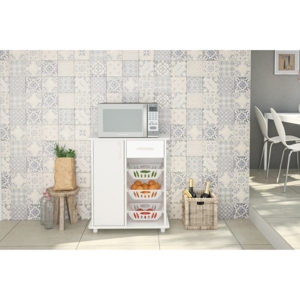 Polifurniture Compact Kitchen Cabinet with 3 Baskets, White