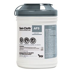 Sani-Cloth AF3 Germicidal Disposable Wipes, 6 x 6 3/4, 12 per Carton