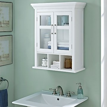 """Simpli Home Avington 30""""H Two Door Wall Cabinet with Cubbies in White (AXCBC-006-WH)"""