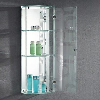 """THE DAVENPORT - Front Glass Wall Cabinet 29"""" X 11"""" inches with Three Shelf by Fab Glass and Mirror (White)"""