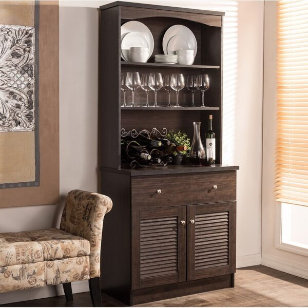 Traditional Dark Brown Wood Kitchen Storage by Baxton Studio (Kitchen Cabinet-Wenge Brown)