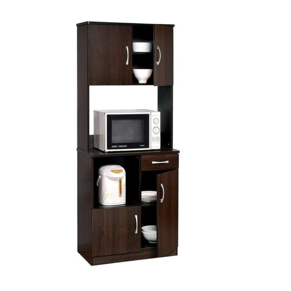 Wooden Kitchen Cabinet with Open Shelves and Door Storage, Brown