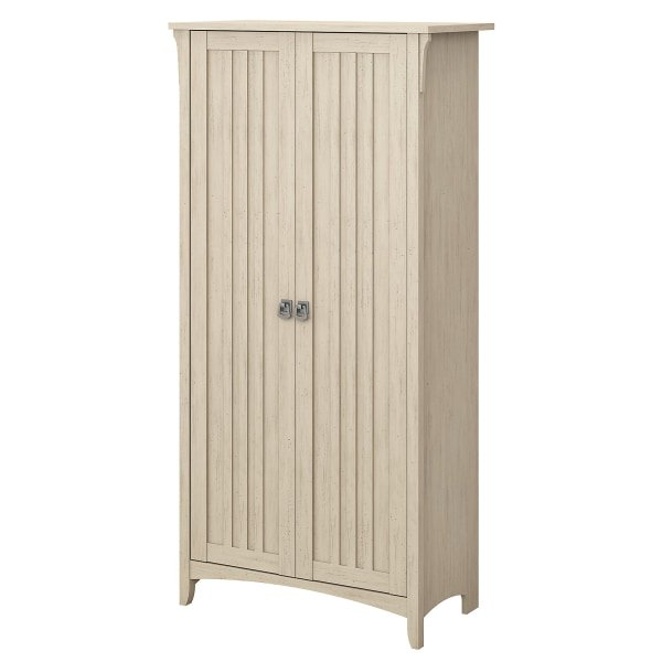 """Bush Furniture Salinas 63""""H Kitchen Pantry Cabinet With Doors, Antique White, Standard Delivery"""