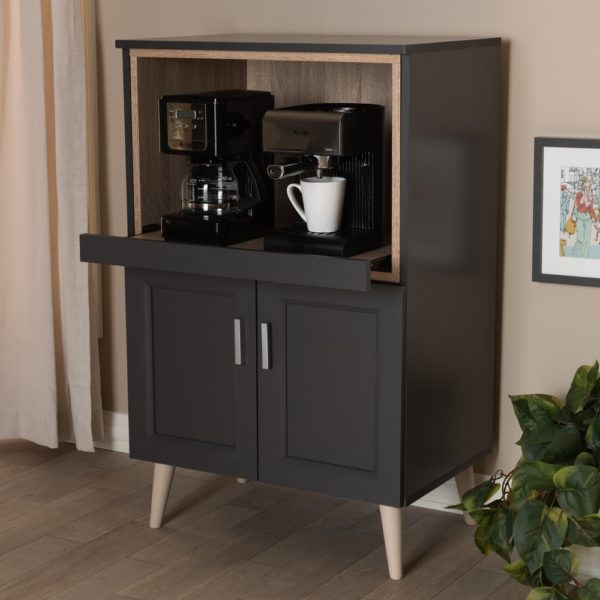 Carson Carrington Ystad Dark Grey and Oak Brown Kitchen Cabinet (brown)