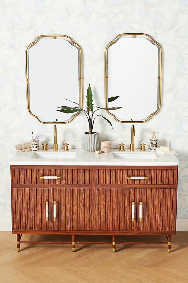 Deluxe Tamboured Double Bathroom Vanity By Anthropologie in Brown Size ALL