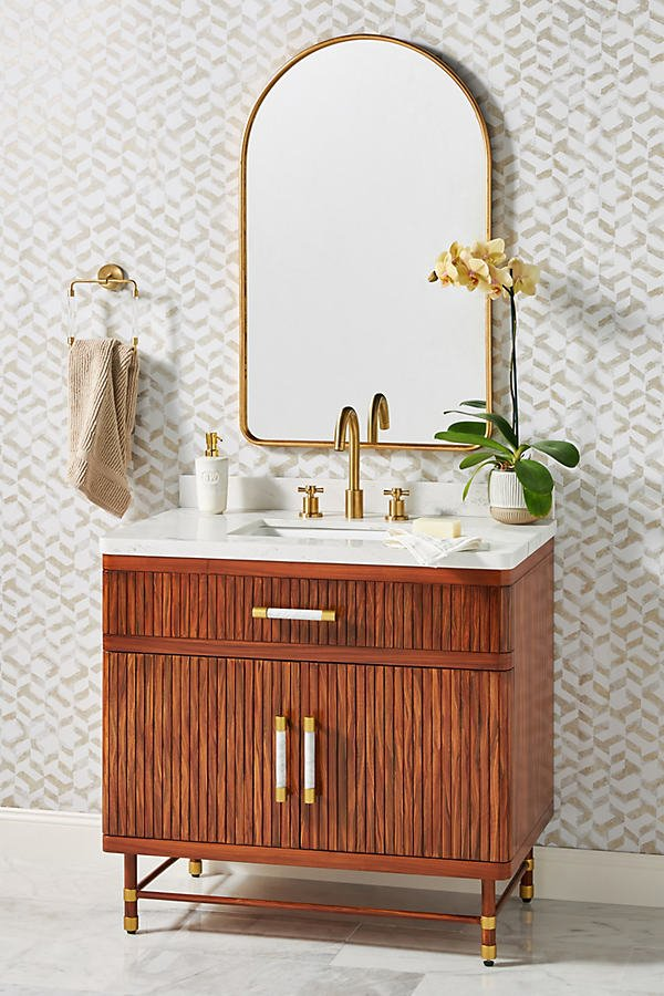 Deluxe Tamboured Single Bathroom Vanity By Anthropologie in Brown Size ALL