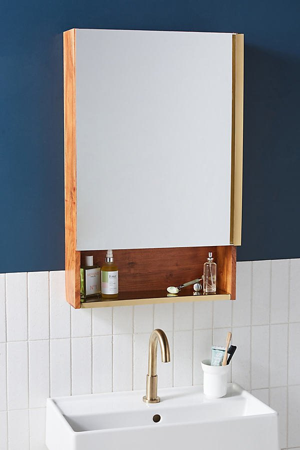 Erma Teak Mirrored Bath Cabinet By Anthropologie in Brown Size M