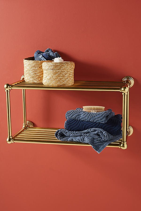Fluted Two-Tier Bathroom Shelf By Anthropologie in Brown Size ALL