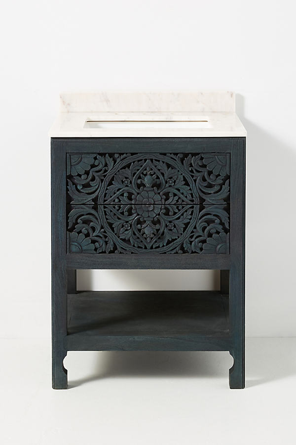 Handcarved Lombok Powder Bathroom Vanity By Anthropologie in Blue Size ALL
