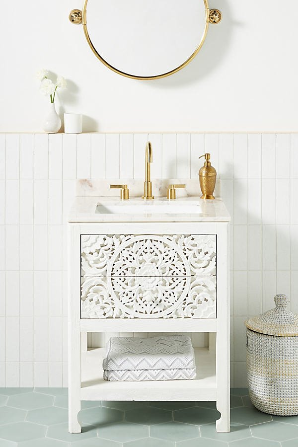 Handcarved Lombok Powder Bathroom Vanity By Anthropologie in White Size ALL
