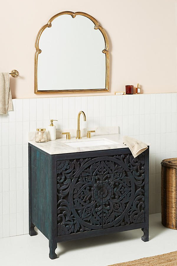 Handcarved Lombok Single Bathroom Vanity By Anthropologie in Blue Size ALL