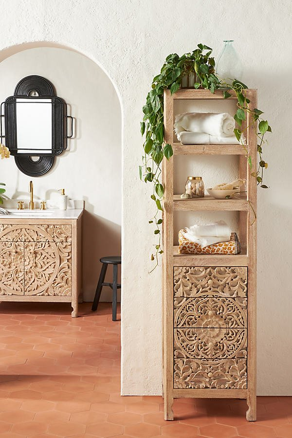 Handcarved Lombok Storage Cabinet By Anthropologie in Grey Size ALL