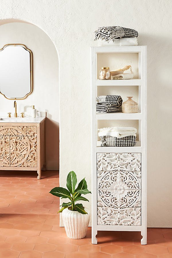 Handcarved Lombok Storage Cabinet By Anthropologie in White Size ALL