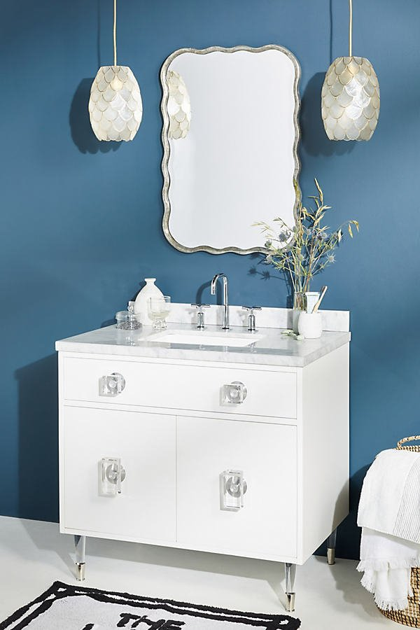 Lacquered Regency Single Bathroom Vanity By Tracey Boyd in Grey Size ALL