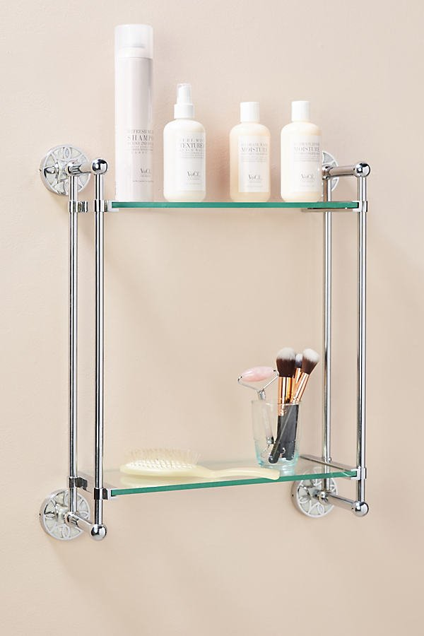 Launis Two-Tier Bathroom Shelf By Anthropologie in Grey Size ALL