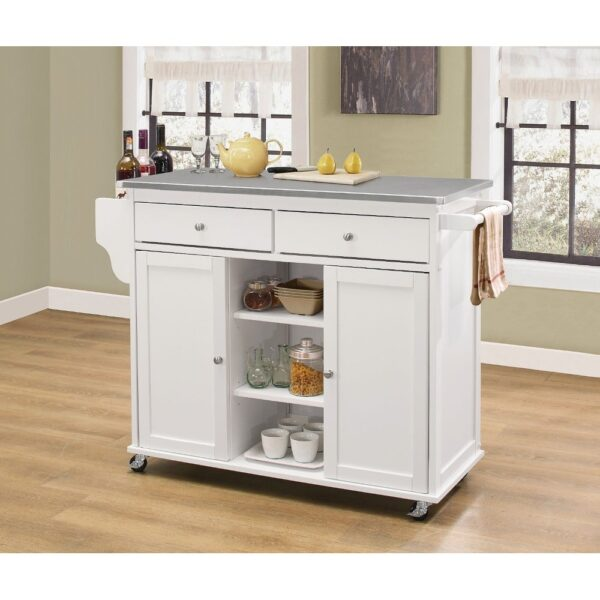 2 Drawer Wooden Kitchen Cart with 2 Shelves and 2 Cabinets, White (Kitchen Cart)
