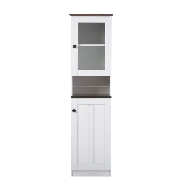 Baxton Studio Lauren Modern and Contemporary Two-tone White and Dark Brown Buffet and Hutch Kitchen Cabinet DR 883300-White/Wenge