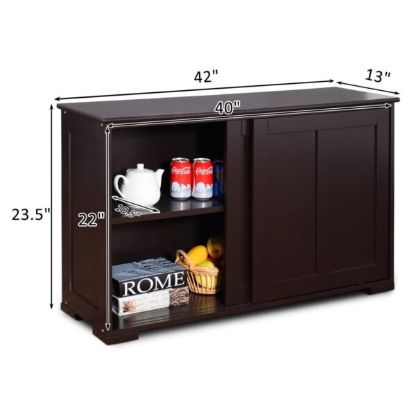 Kitchen Storage Cabinet with Wood Sliding Door-Brown
