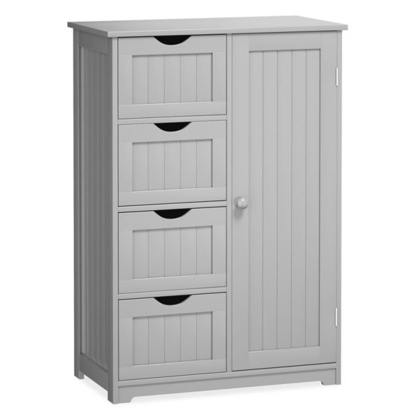 Standing Indoor Wooden Cabinet with 4 Drawers-Gray