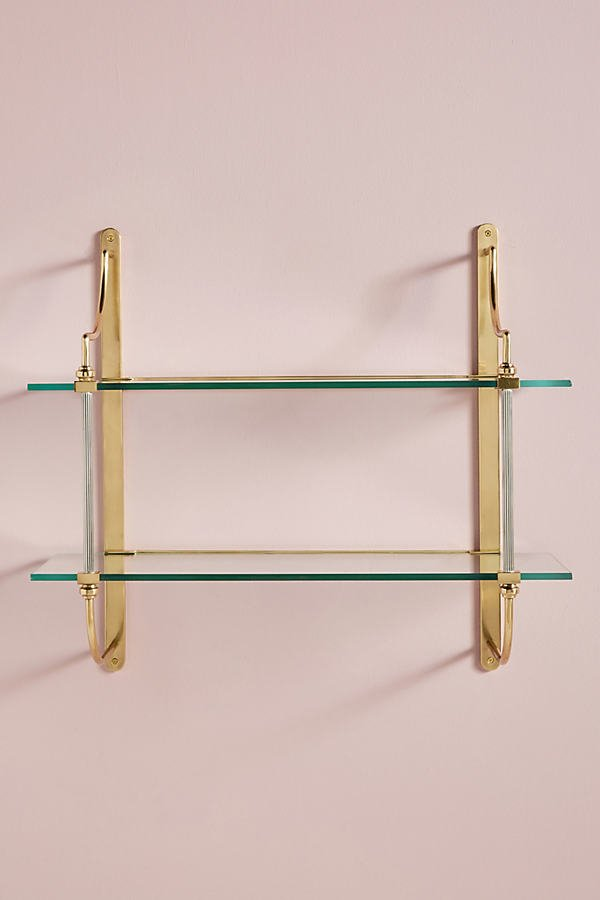 Sylvie Two-Tier Shelf By Anthropologie in Brown Size ALL