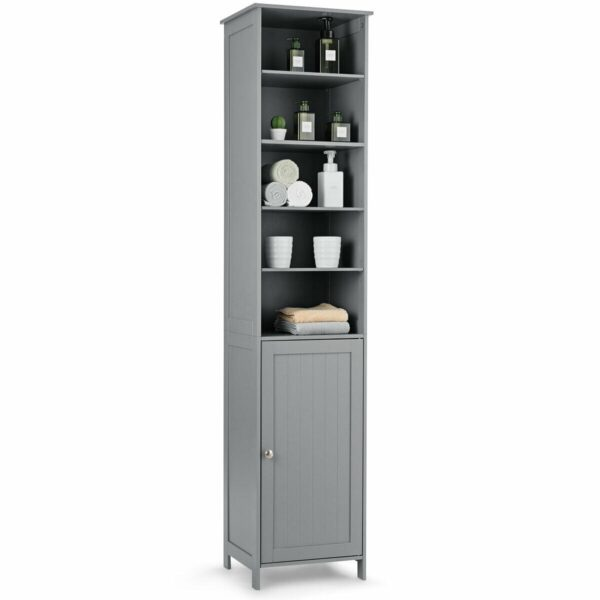 "72"" Free Standing Tall Floor Bathroom Storage Cabinet-Gray"