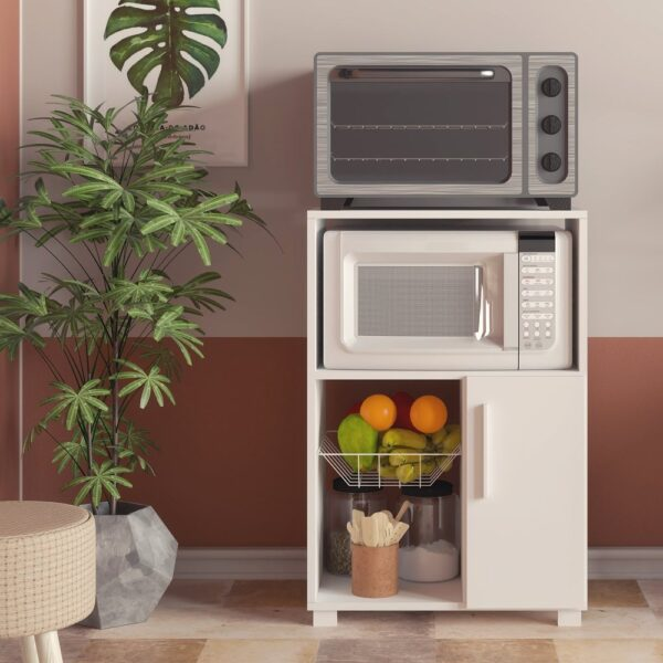 Boahaus Dijon Kitchen Cabinet with microwave stand, fruit bowl and one door (White - Kitchen Cart - Laminate)