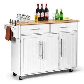 Costway Kitchen Island Trolley Cart Wood Top Rolling Storage Cabinet (White)
