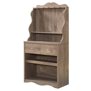 Furniture of America Aore Rustic 2-drawer Kitchen Cabinet with Wine Rack (Hazelnut)