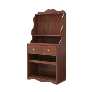 Furniture of America Aore Rustic 2-drawer Kitchen Cabinet with Wine Rack (Vintage Walnut)